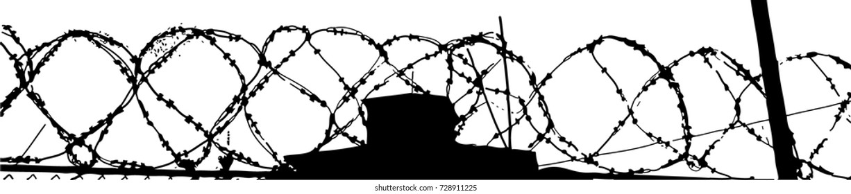 Spiral barbed wire and tower. Vector art.