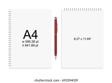 Spiral binding notebook or notepad and pen isolated. Sketchbook or diary ISO 216 A4 standart. Realistic vector illustration