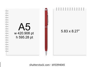 Spiral binding notebook or notepad and pen isolated. Sketchbook or diary ISO 216 A5 standart. Realistic vector illustration