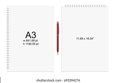 Spiral binding notebook or notepad and pen isolated. Sketchbook or diary ISO 216 A3 standart. Realistic vector illustration
