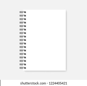 Spiral blank notebook, realistic vector mock-up. Wire bound empty notepad template. White A5 diary mockup.