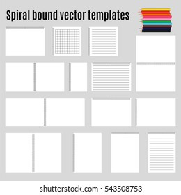 Spiral bound horizontal notepads and pencil. Childish album for artwork, education and drawing. Template set or mock up collection. Easy to place your image on the cover.Top view.