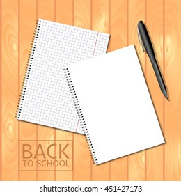 Spiral bound notepads and pen. Vector template or mock up. Back to school inscription. Easy to place your image on the cover.Top view.