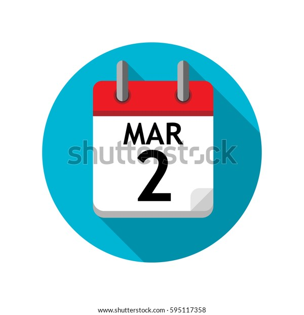 Spiral calendar page with single day. 2nd of March. Round icon with shadow.