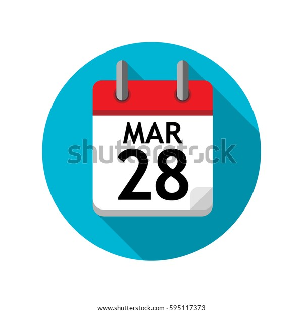 Spiral calendar page with single day. 28th of March. Round icon with shadow.