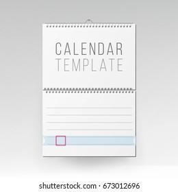 Spiral Calendar Vector. Blank Office Calendar Mock Up. Realistic Sheets Of Paper. Empty Mock Up Wall Calendar Illustration.