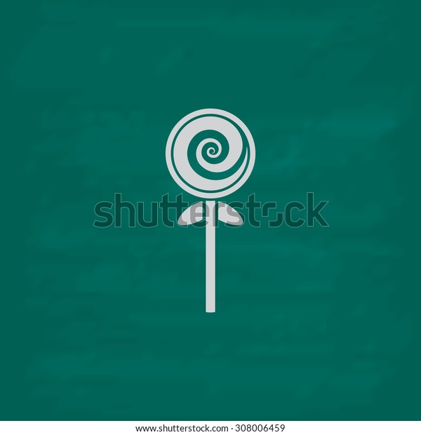 Spiral candy. Icon. Imitation draw with white chalk on green chalkboard. Flat Pictogram and School board background. Vector illustration symbol