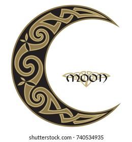 Spiral Celtic Moon, horned moon design, isolated on black, vector illustration