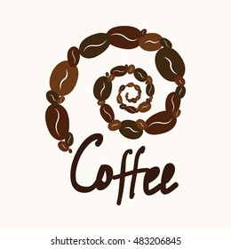 Spiral coffee text for your design. It can be used as a logo. For printing on the package, bag, cup, notebook, furniture, textiles, etc. Vector.