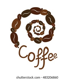 Spiral coffee and text for your design. It can be used as a logo. For printing on the package, bag, cup, notebook, furniture, textiles, etc. Vector.