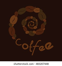 Spiral of coffee and text for your design. It can be used as a logo. For printing on the package, bag, cup, notebook, furniture, textiles, etc. Vector.