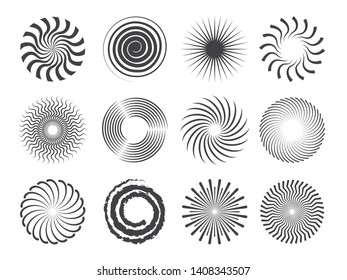 Spiral design. Circles swirls and stylized whirlpool abstract vector shapes isolated. Illustration of whirlpool and swirl, twirl radial, twist motion