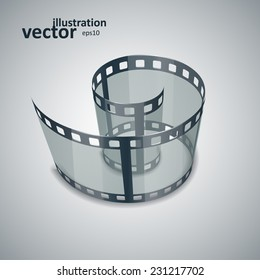 Spiral of film strip. Graphic concept for your design. vector illustration eps10