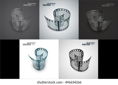 Spiral of film strip. Graphic concept for your design