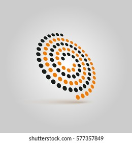 Spiral futuristic icon. Abstract logo swirl. Picture an imaginary induction surface.