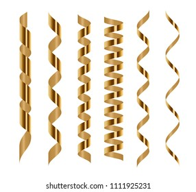 Spiral golden serpentine set isolated on white background. Vector illustration. Gold ribbons for holiday design