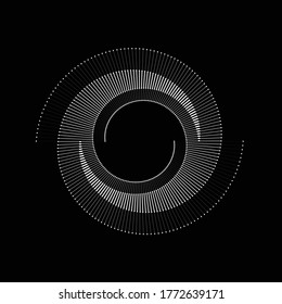 Spiral with gray lines different colors as dynamic abstract vector background or logo or icon