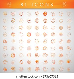 Spiral Icons Set - Isolated On Gray Background - Vector Illustration, Graphic Design Editable For Your Design.