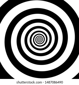 Spiral illusion black and white circular rotation effect. Vector illustration
