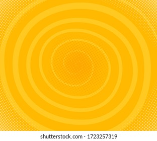 Spiral line.  Yellow halftone pattern. Abstract vector illustration