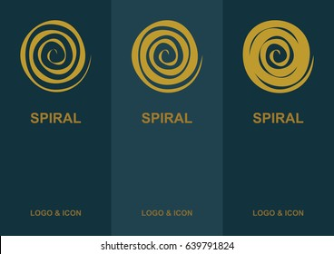 Spiral logo, icon and cover flat design template.