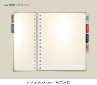 Spiral Notebook Blog or Website Template, with divider tabs as link buttons