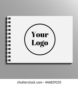 spiral notebook empty blank template. Blank notepad template. Vector illustration. Realistic metal spiral