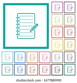 Spiral notepad with pencil flat color icons with quadrant frames on white background