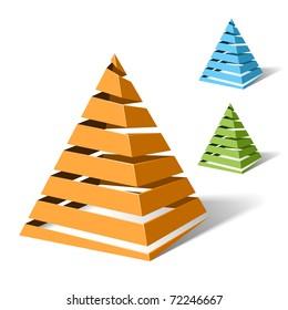 Spiral pyramids. Vector.