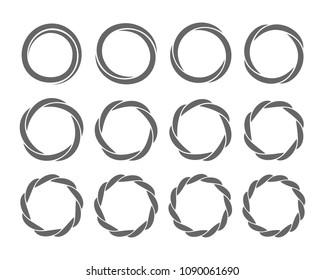 Spiral rings twisting circles swirl design element set for infographics. Vector illustration.