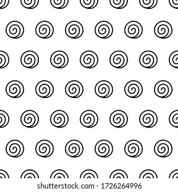 Spiral Seamless Pattern. Endless Texture With Many Isolated Round Swirls. Black And White Background In Zen Art Style. Shapes In Horizontal Rows. Abstract Vector Illustration. Geometric Wallpaper.