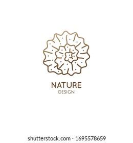 Spiral seashell minimal logo. Round icon in linear style. Vector outline illustration sea decorative element for design, concept of spa salon, massage, beauty salon, yoga and meditation Center.