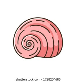 Spiral shell red RGB color icon. Gastropod seashell, conchology Empty molluscan animal cockleshell, common snail conch, moonshell isolated vector illustration