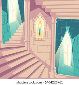 Spiral staircase in castle, upward stairs in palace or tower with arched windows, burning torch in brick wall recess, medieval architecture design, empty building interior, cartoon vector illustration