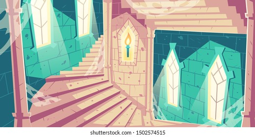 Spiral staircase into dungeon in medieval castle or palace old, abandoned tower with sunlight going trough windows, spider web, burning torch on stone walls and columns cartoon vector illustration