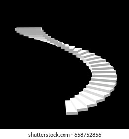 Spiral staircase. Isolated on black background.3d Vector illustration.