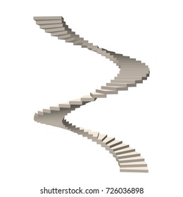 Spiral staircase. Isolated on white background.3d Vector illustration.