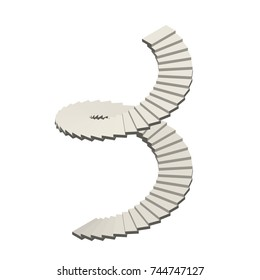 Spiral staircase. Isolated on white background. Vector illustration.Isometric view.