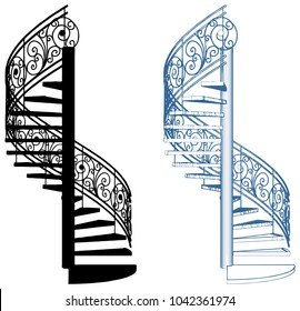 Spiral Staircase Vector Isolated On White Background 21