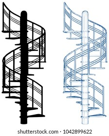 Spiral Staircase Vector Isolated On White