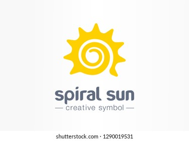 Spiral sun creative symbol concept. Summer morning energy light abstract business logo. Hot sunshine weather, travel circle sunrise or sunset icon. Corporate identity logotype, company graphic design