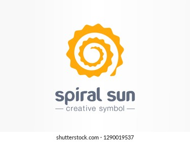 Spiral sun creative symbol concept. Summer morning light abstract business solarium beauty logo. Hot sunshine weather, circle sunscreen gold icon. Corporate identity logotype, company graphic design