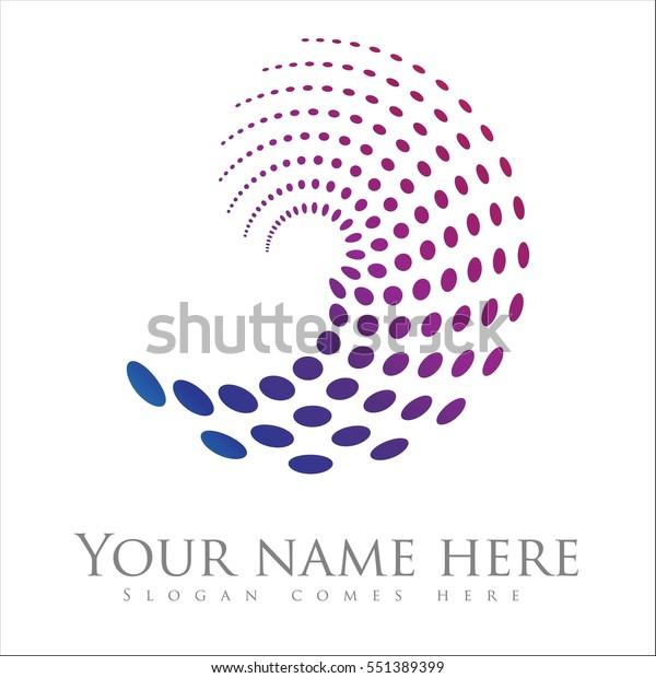 Spiral Swirl Logo Design Vector Dots Stock Vector (Royalty