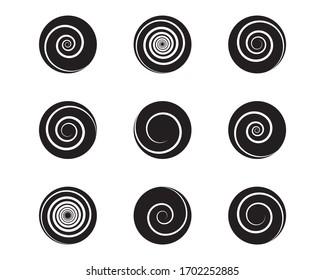 Spiral and swirl motion twisting circles design element set. Vector illustration.