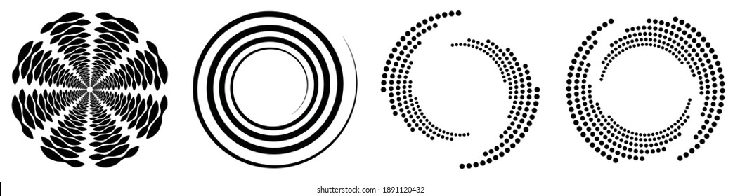 Spiral, swirl, twirl element set. Rotating circular and concentric shapes vector Illustration. Volute, helix and curlicue designs