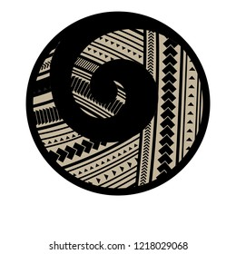 Spiral symbol, based on silver fern frond with Maori pattern