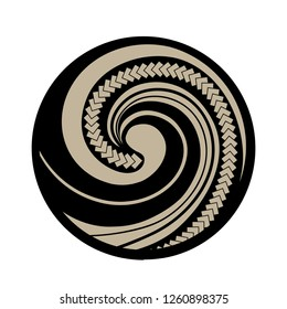 Spiral symbol, based on silver fern frond with Maori pattern, logo icon