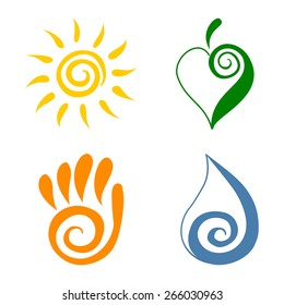Spiral symbols Four elements Spiral swirl set vector illustration Tribal sun symbol Green leaf symbol Open palm hand symbol Water drop icon symbol Green energy icons Ecology concepts