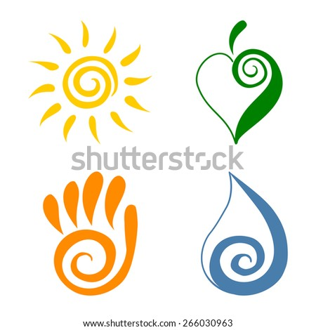 Spiral Symbols Four Elements Spiral Swirl Stock Vector Royalty Free