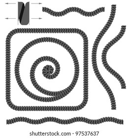 Spiral Telephone Cables. Illustration on white background